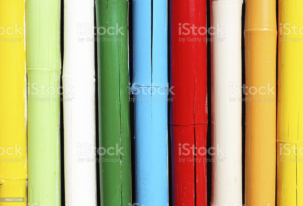 Colorful bamboo wall royalty-free stock photo