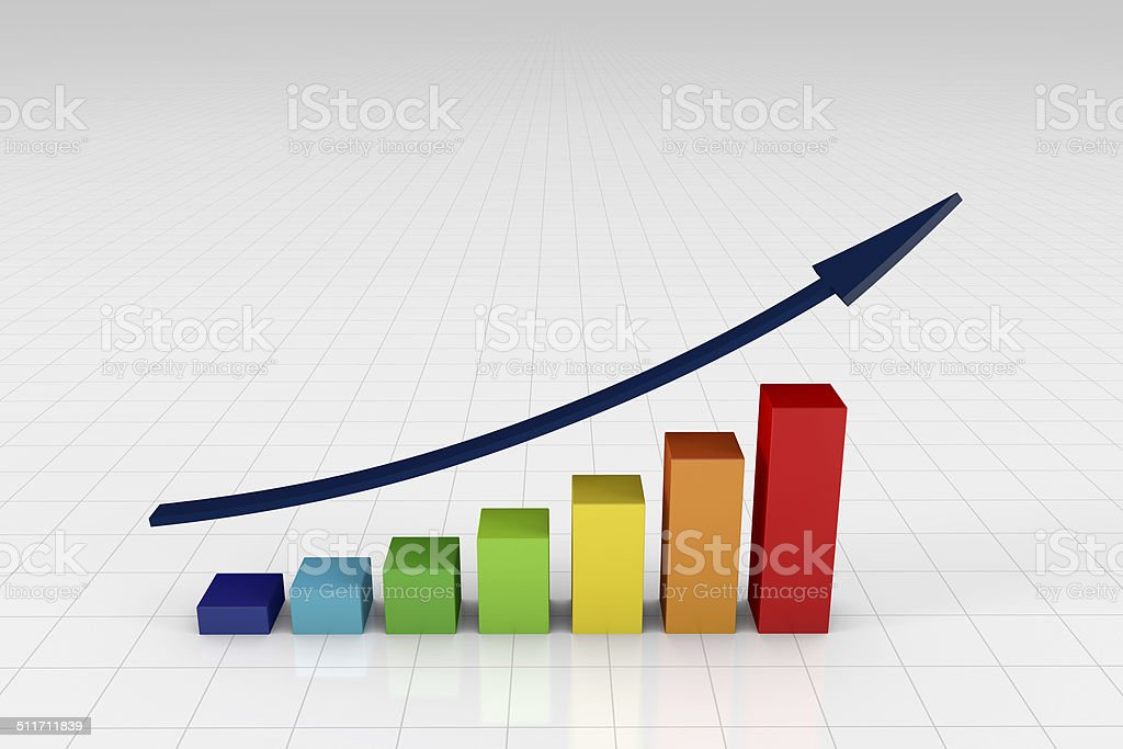 Colorful bar chart with arrow (on white) stock photo
