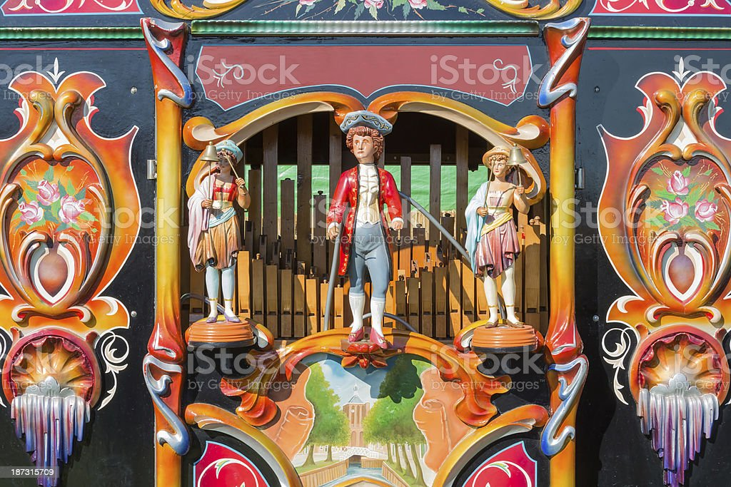 Colorful barrel or street organ stock photo