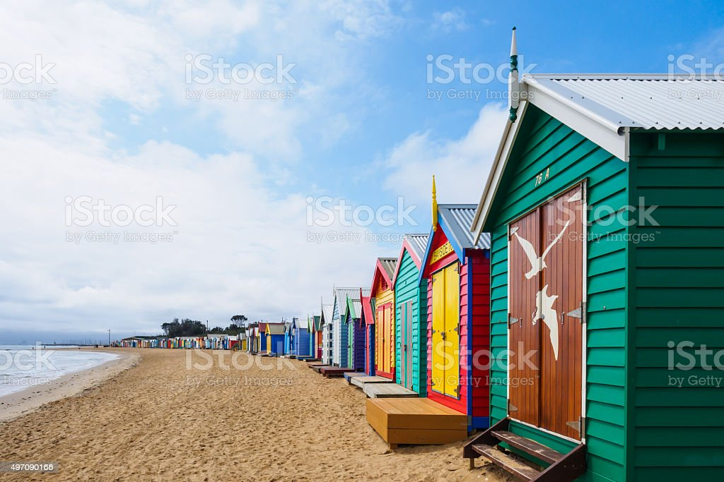 Colorful bath houses, Brighton Beach in Melbourne stock photo