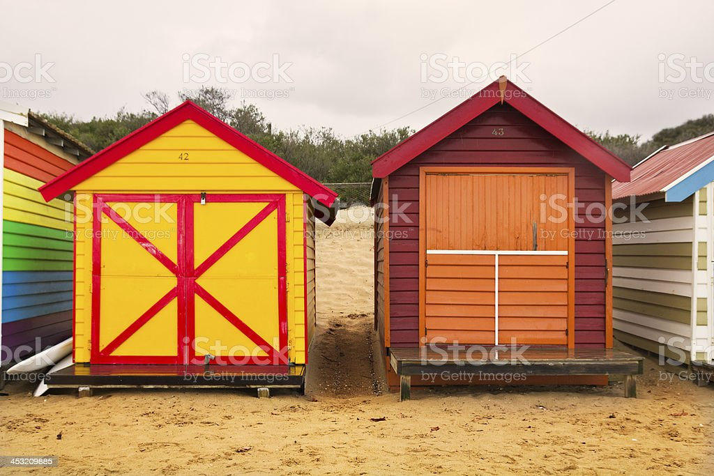 Colorful bathing boxes royalty-free stock photo