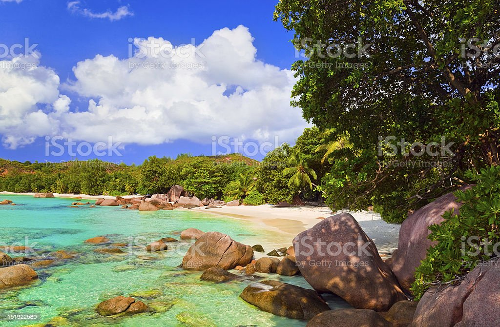 Colorful beach Anse Lazio at the Island Praslin, Seychelles stock photo