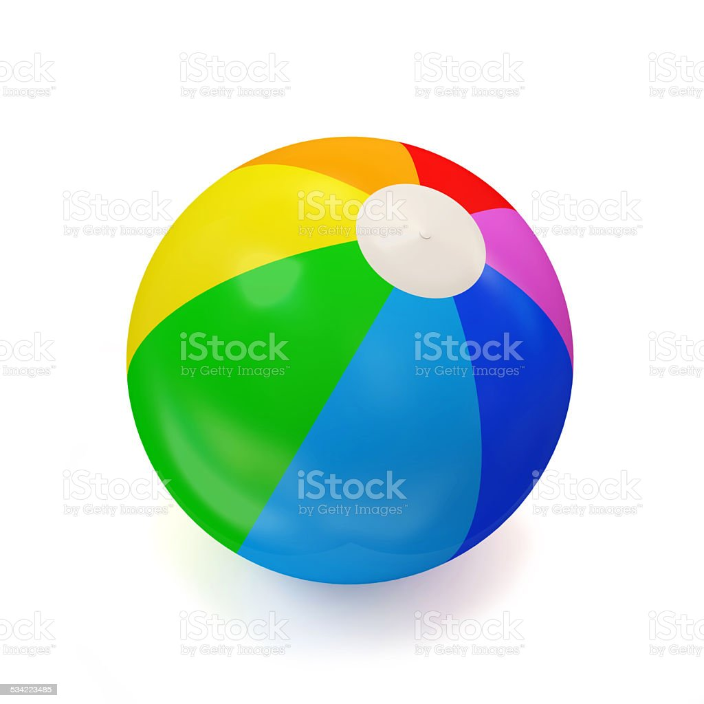 Colorful Beach Ball isolated on white background stock photo