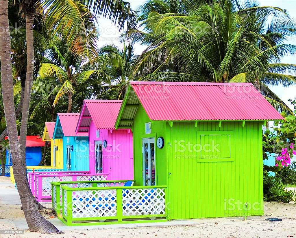 Colorful Beach Cabanas stock photo