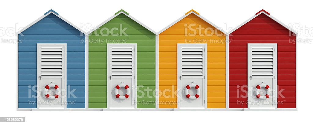 Colorful beach cabins stock photo