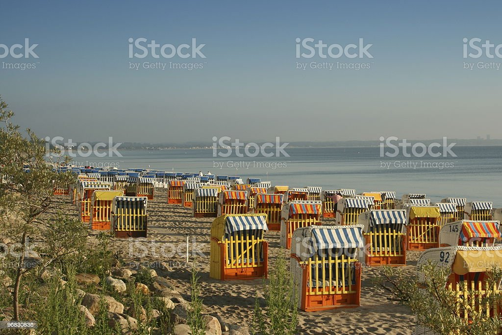 Colorful Beach Chairs of Baltic Sea stock photo