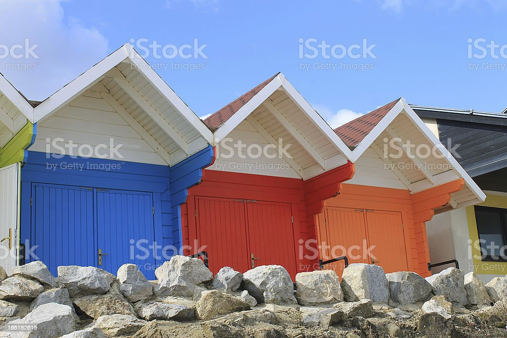 Colorful beach chalets royalty-free stock photo