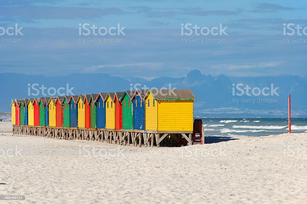colorful beach house at muizenberg stock photo