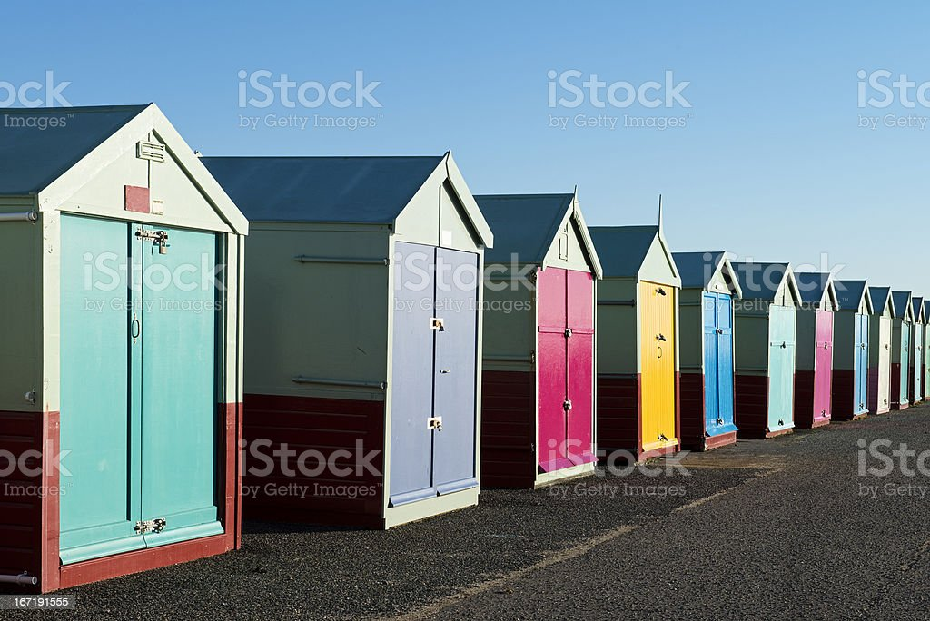 Colorful Beach Huts at Hove, near Brighton, East Sussex, UK stock photo