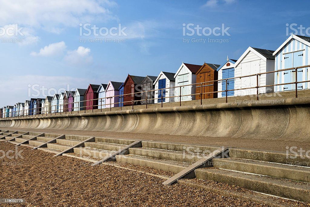 Colorful Beach Huts at Old Felixstowe stock photo