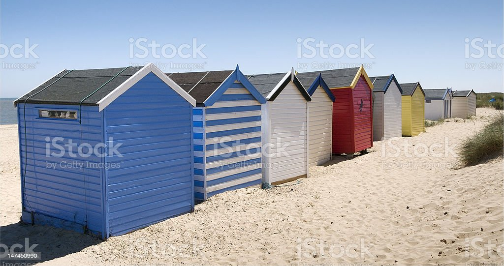 Colorful Beach Huts at Southwold, Suffolk, England royalty-free stock photo