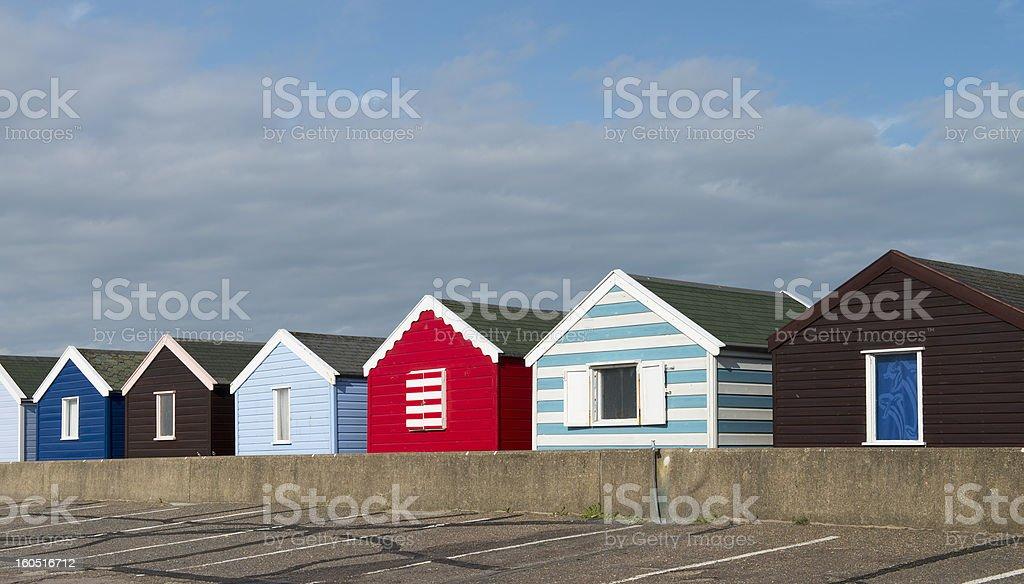 Colorful Beach Huts at Southwold, Suffolk, UK. royalty-free stock photo