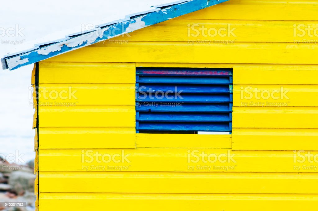 Colorful beach huts at St. James Bay stock photo