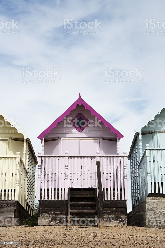 Colorful Beach Huts at West Mersea, Essex, UK. stock photo