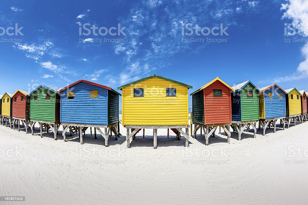 Colorful Beach Huts Fisheye View stock photo