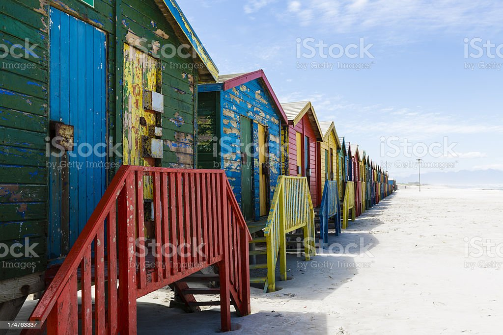 Colorful Beach Huts in Muizenberg, Cape Town South Africa stock photo