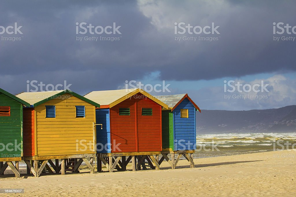 Colorful beach huts, Muizenberg royalty-free stock photo
