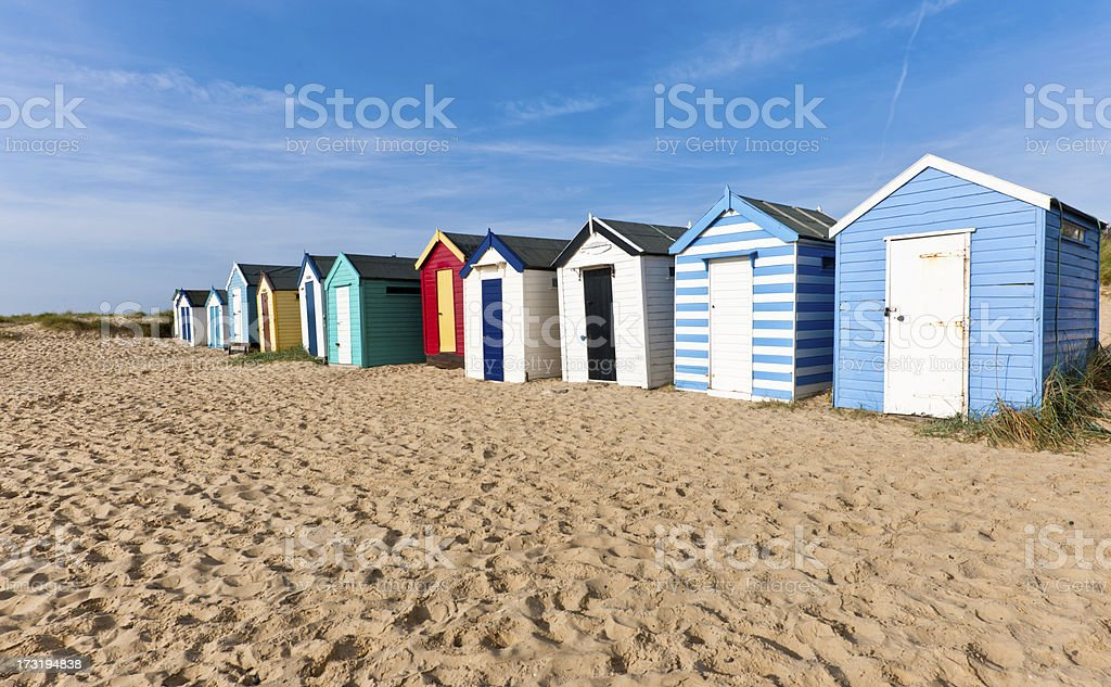 Colorful Beach Huts stock photo