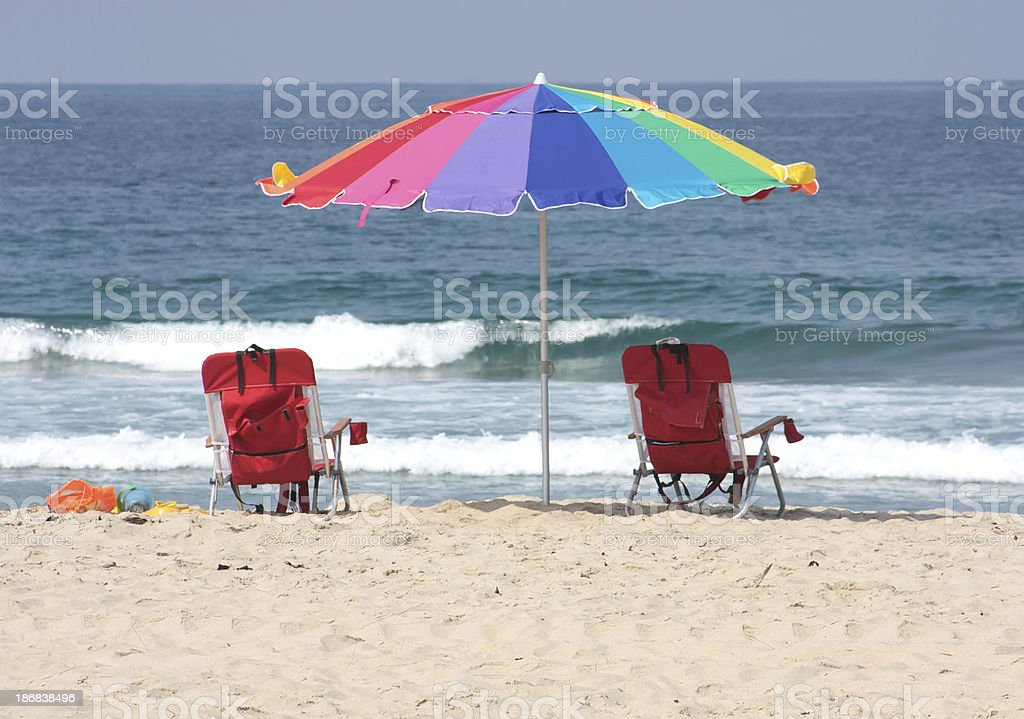 Colorful Beach Umbrella and Chairs in San Diego royalty-free stock photo