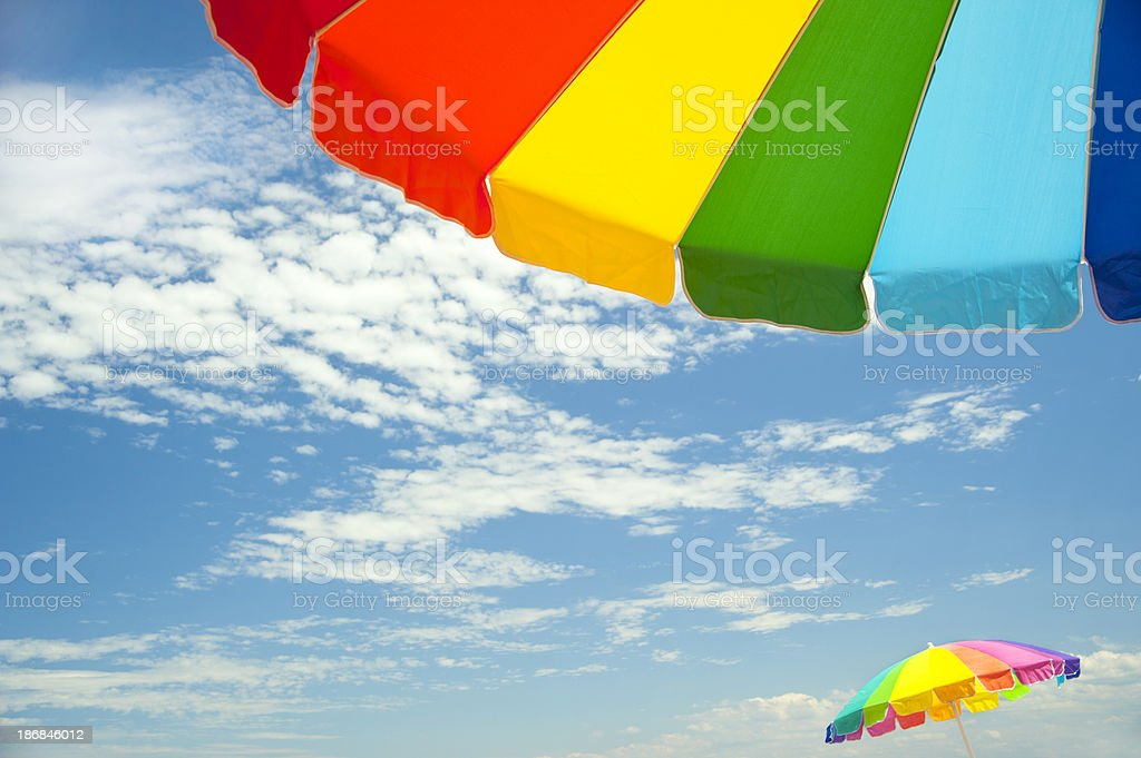 colorful beach umbrellas royalty-free stock photo