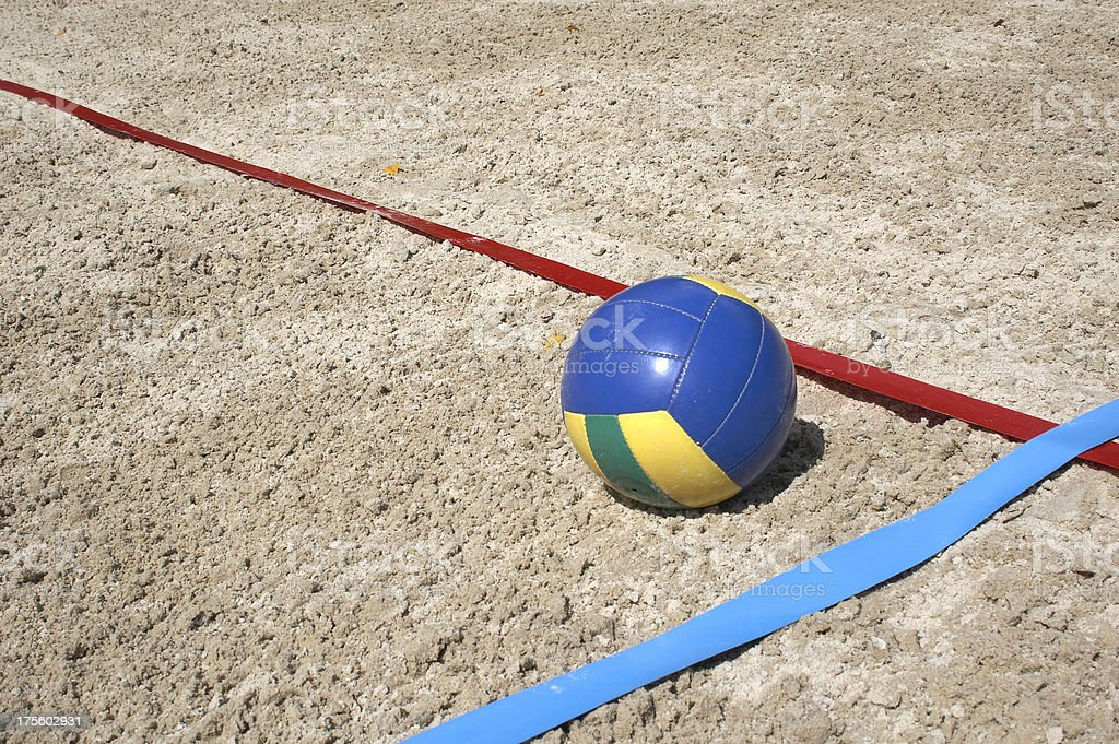 Colorful beach volley ball inside the court royalty-free stock photo