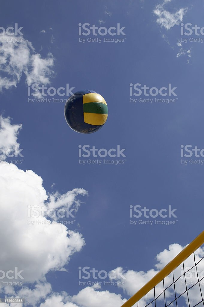 Colorful beach volley net with ball royalty-free stock photo