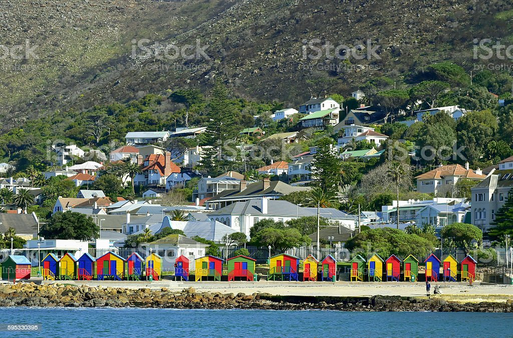 Colorful beachhouses stock photo