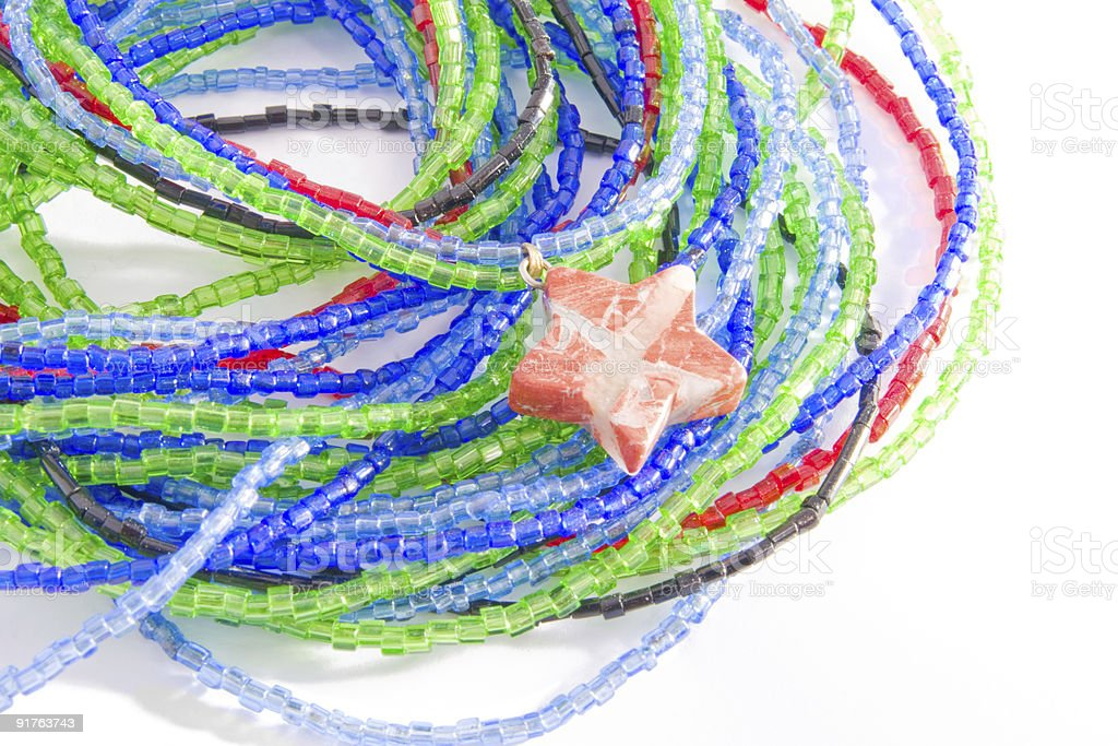 Colorful bead bracelet with star isolated royalty-free stock photo