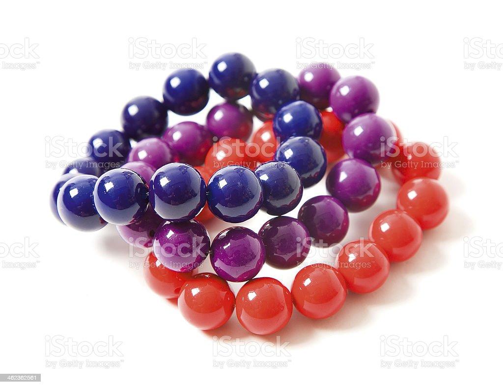 Colorful beaded bracelets still life fashion composition stock photo
