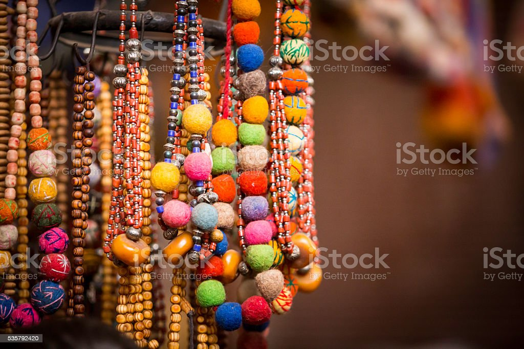 colorful beads and jewellery stock photo