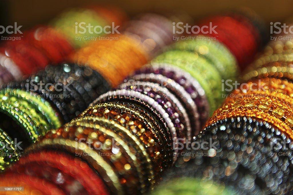 Colorful Beads Bangles Display royalty-free stock photo