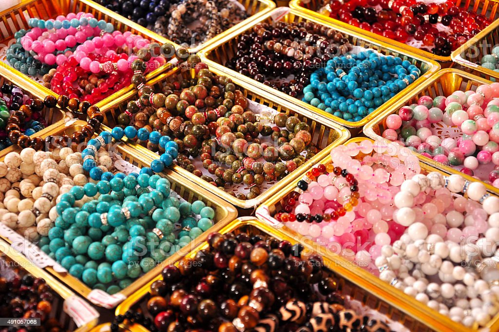 Colorful beads made of natural stones,close up stock photo