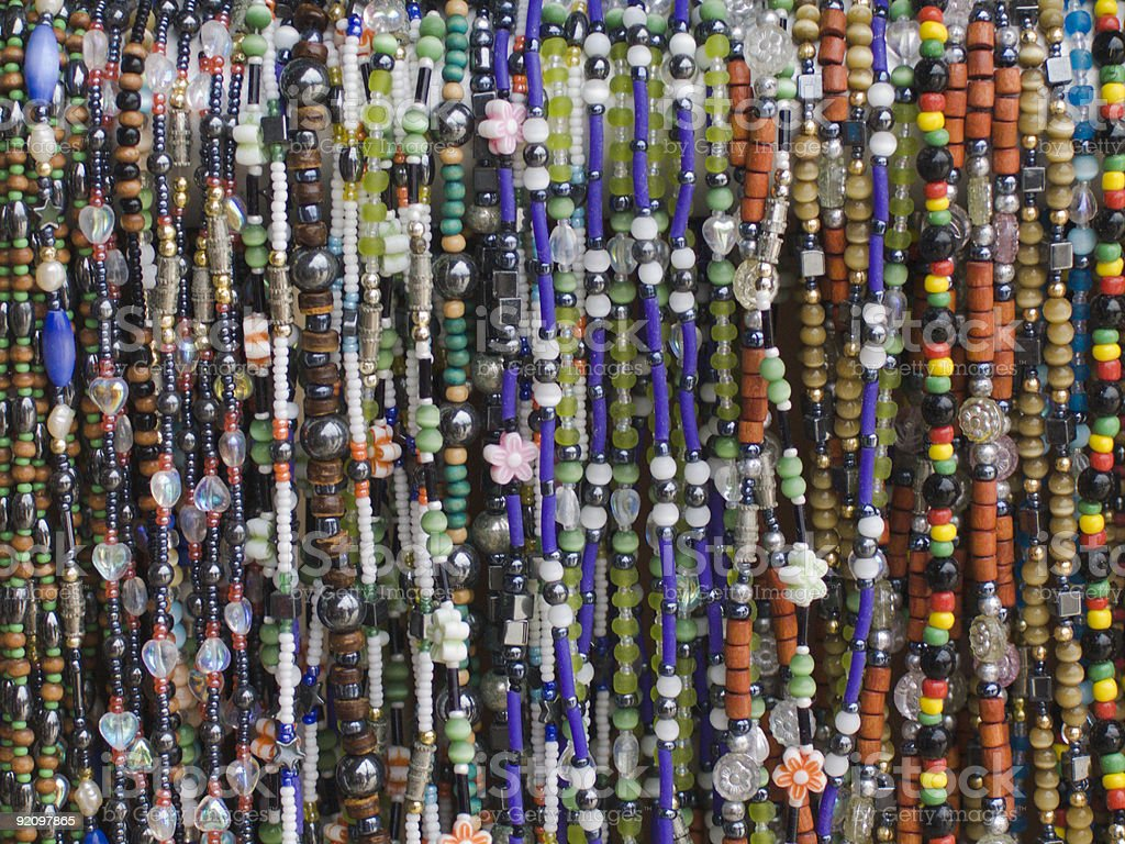 Colorful Beads on Display, Retail, Bracelet, Multi-Colored, Street Vendor royalty-free stock photo