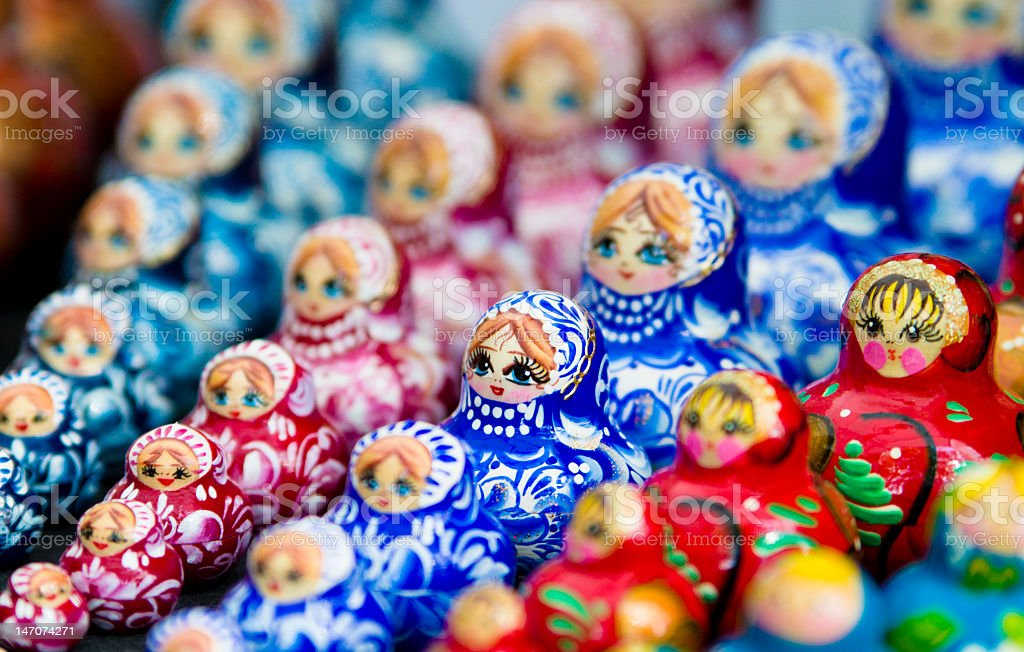 Colorful beauty of Russian traditional dolls royalty-free stock photo