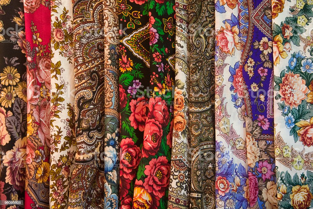Colorful beauty of Russian traditional folk kerchiefs royalty-free stock photo