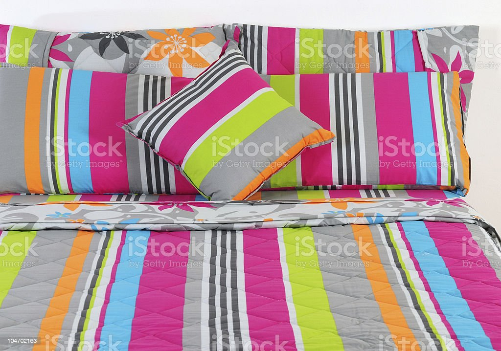 Colorful bedding. stock photo