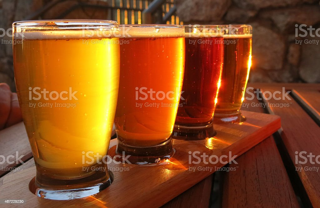 Colorful beer flight stock photo