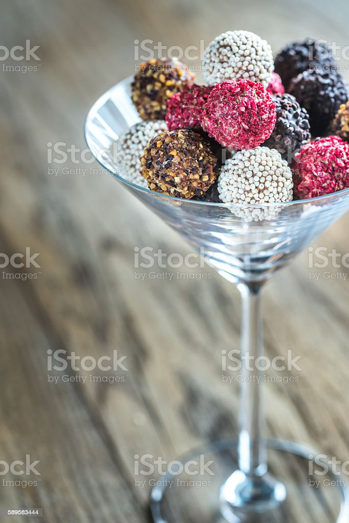 Colorful belgian truffles stock photo
