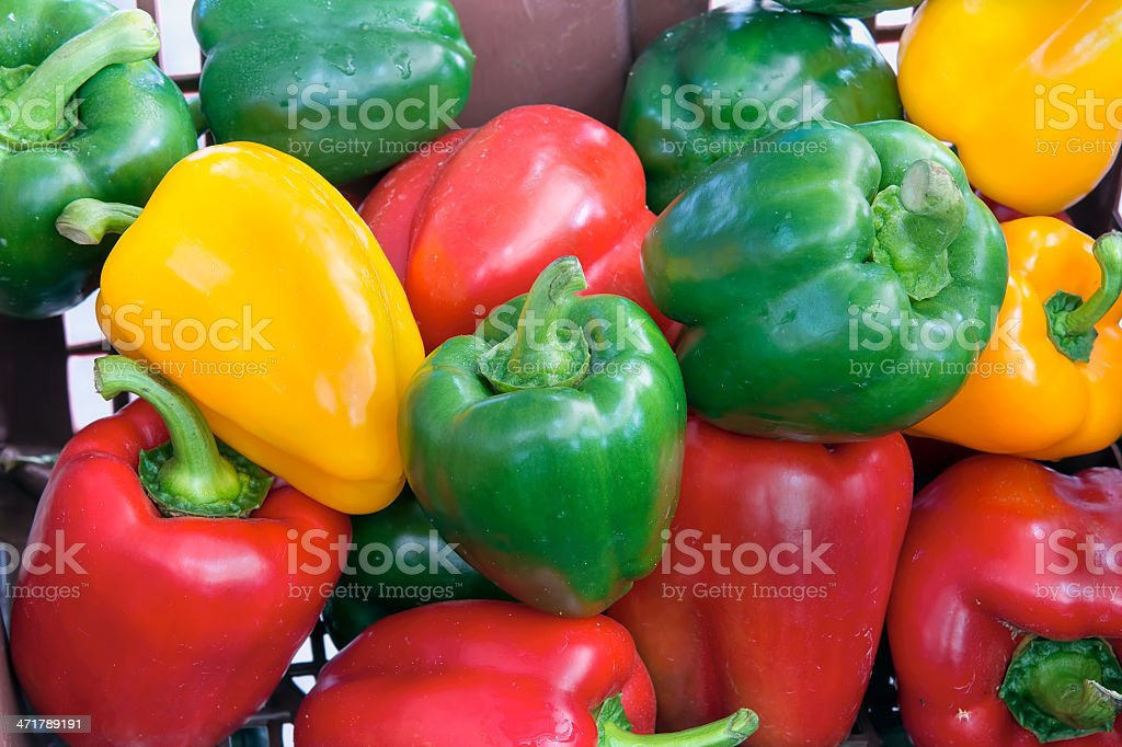 Colorful Bell Peppers Closeup stock photo