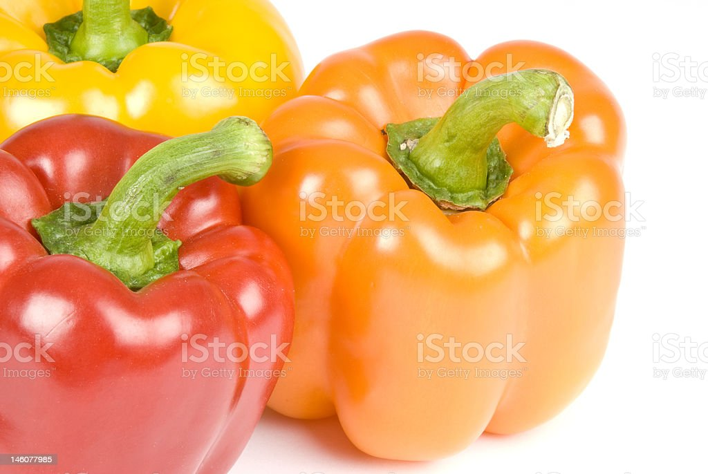 Colorful Bell Peppers Isolated on White stock photo