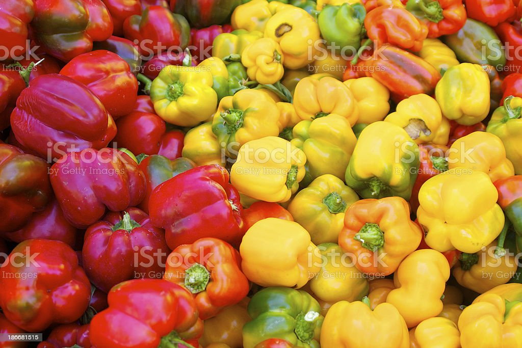 Colorful bell peppers royalty-free stock photo