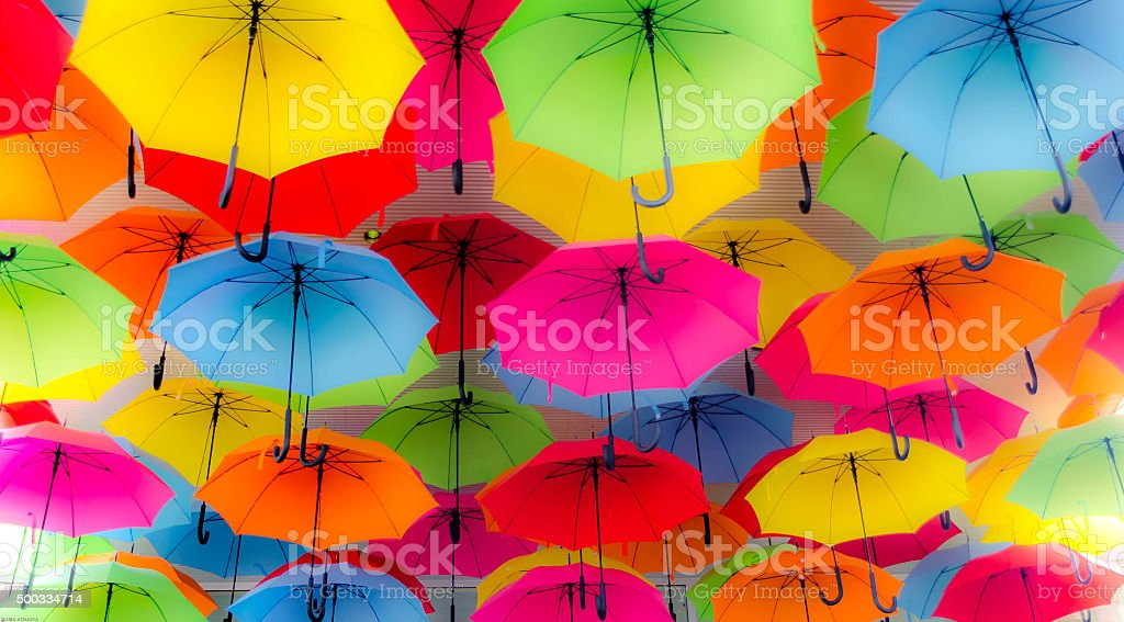 Colorful Bella Umbrellas Background stock photo