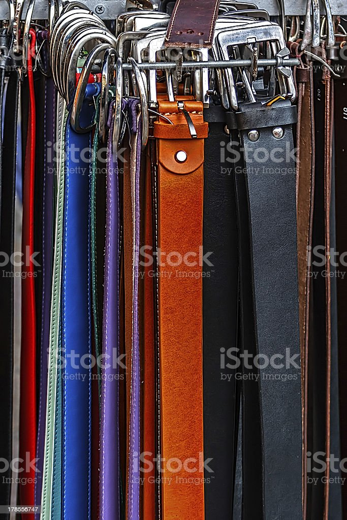 Colorful belts stock photo