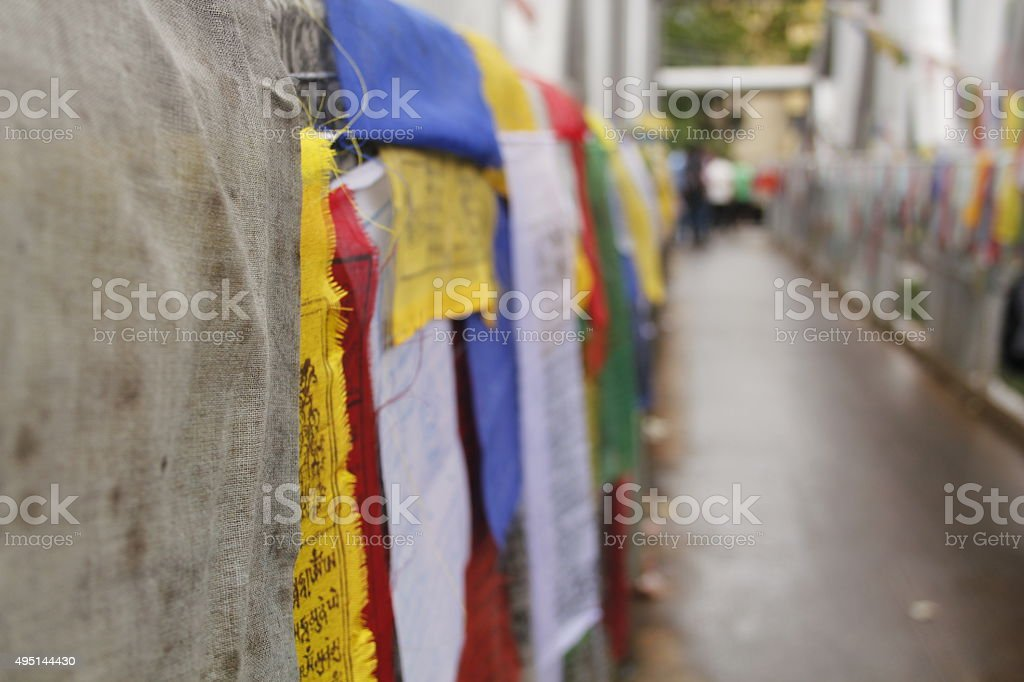 Colorful Bhutanese Flags stock photo