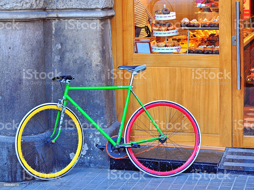 Colorful bike in the street stock photo