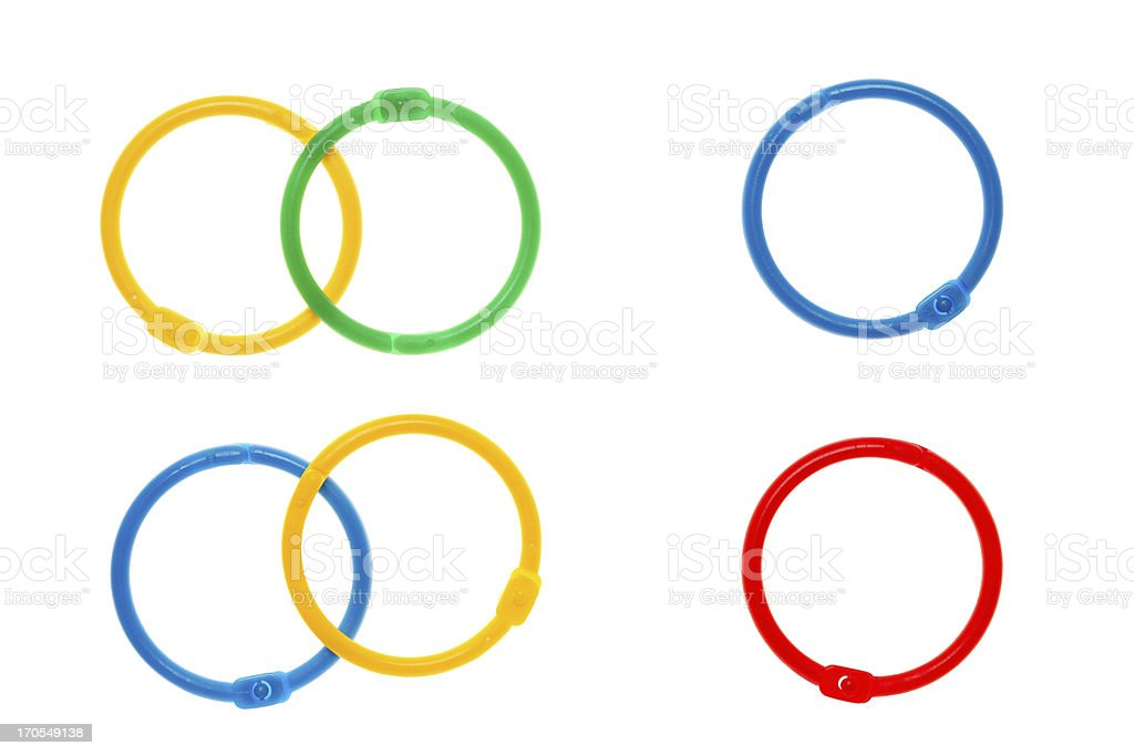Colorful binding rings stock photo