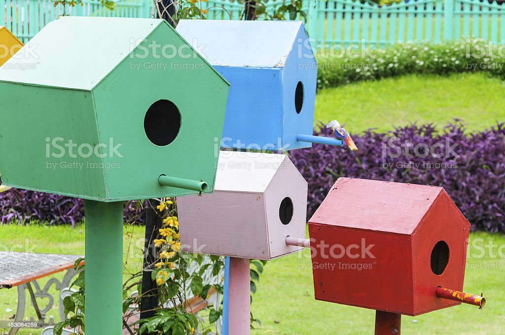 Colorful bird houses royalty-free stock photo