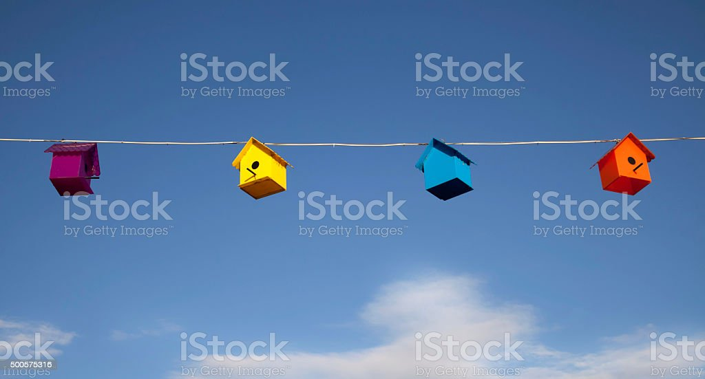 colorful bird houses stock photo