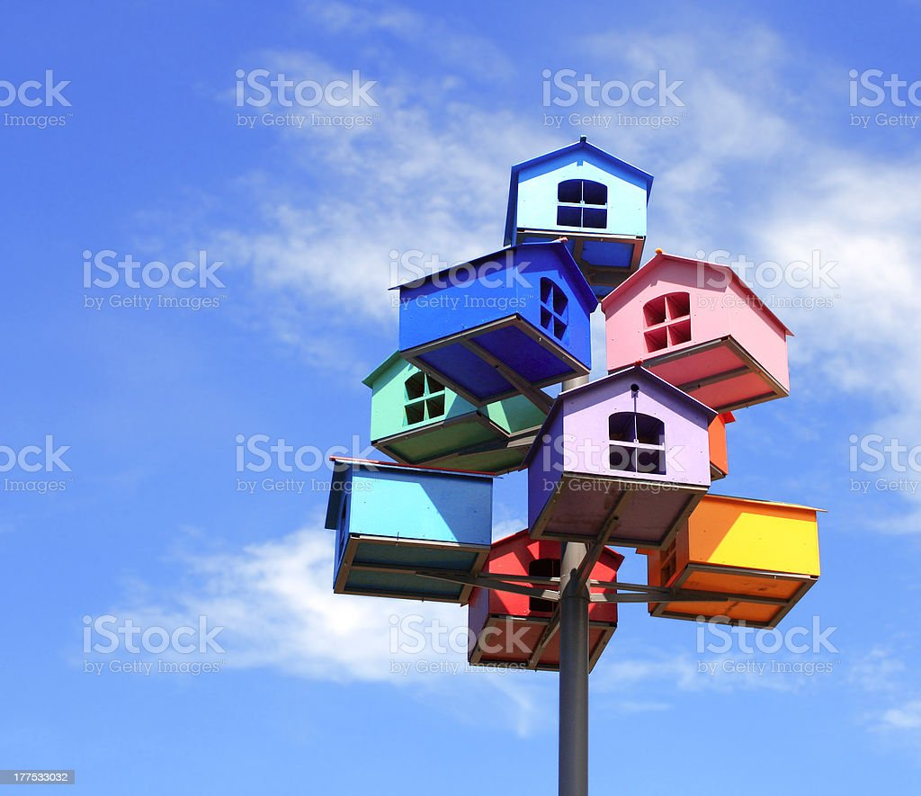 Colorful birds nests clumped together stock photo