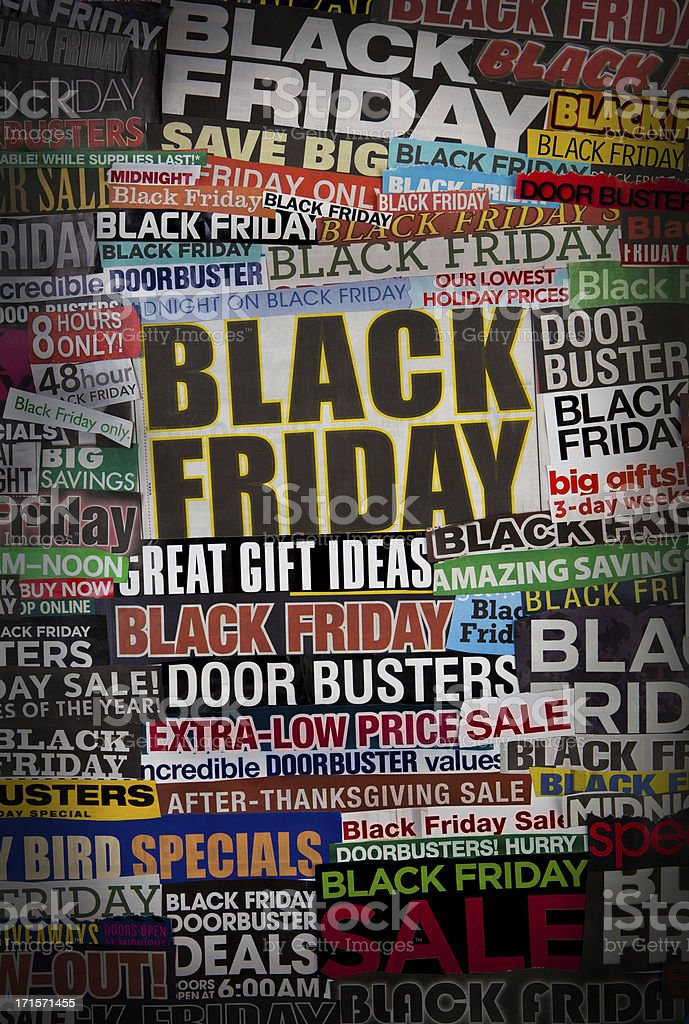 Colorful black friday newspaper collage stock photo